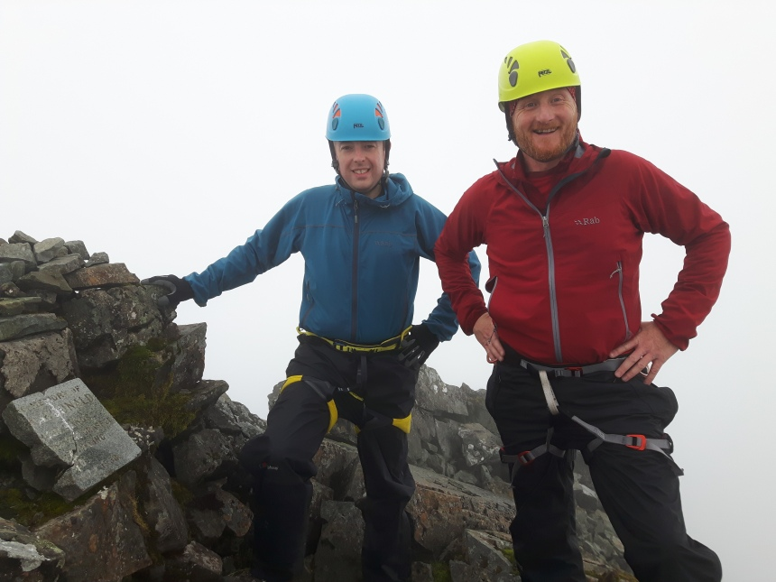Chris and Andy happy to be on the summit of Sgurr MhicCoinnich