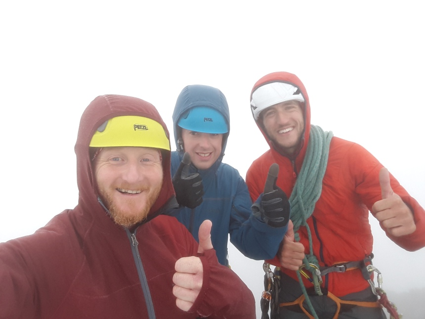 After a slippery descent it was thumbs up on Sgurr Alasdair