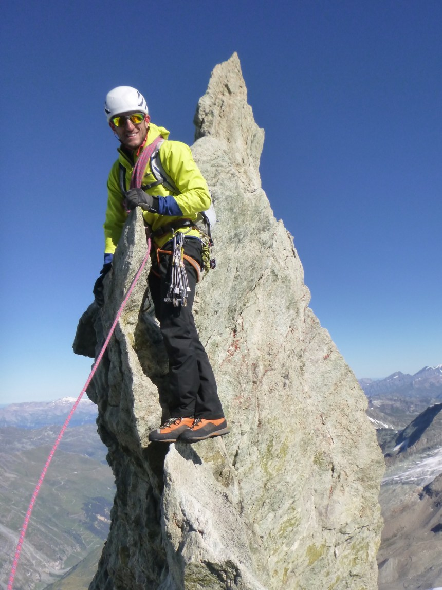 Patagonia Simul Alpine Pant on the Zinalrothorn North Ridge (Photo: Ken Applegate)