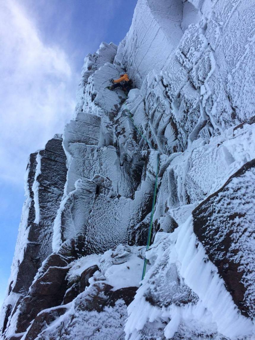 There has been some winter action. Myself climbing in the Gorms during an early cold snap