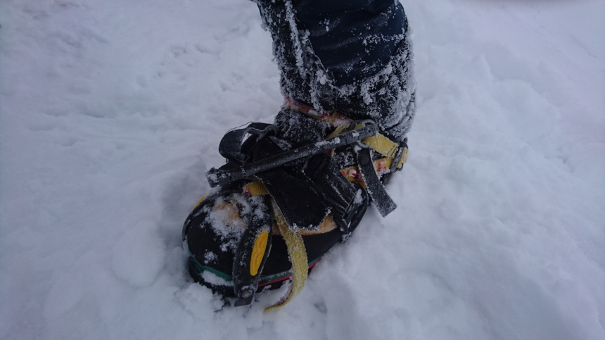 A broken crampon, fixed with a key ring, cord and a combat tourniquet I brought back from Iraq!