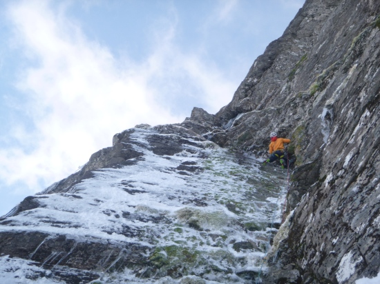 Considering an icy 'hand traverse'