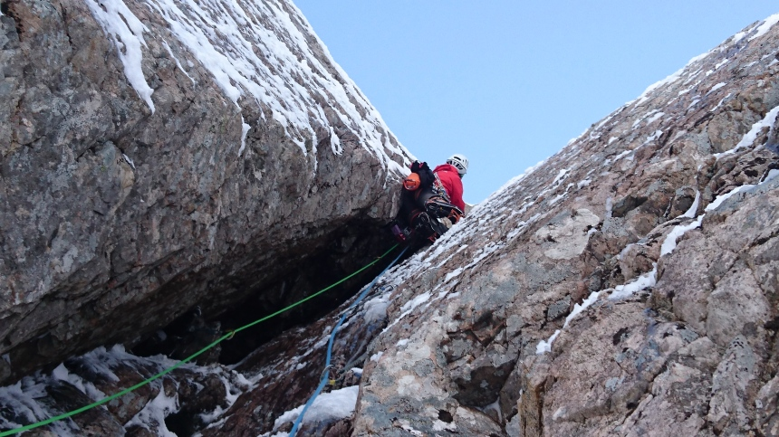 Exiting the chimney groove